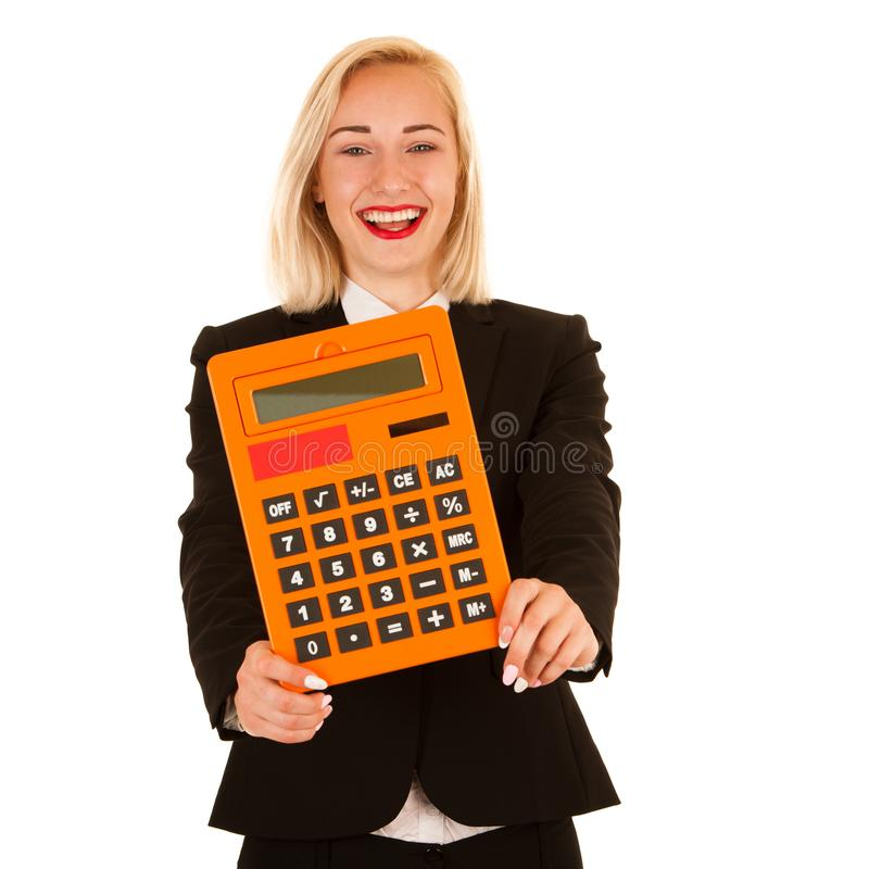 Attractive accountant - beautiful blonde business woman hlding a royalty free stock image