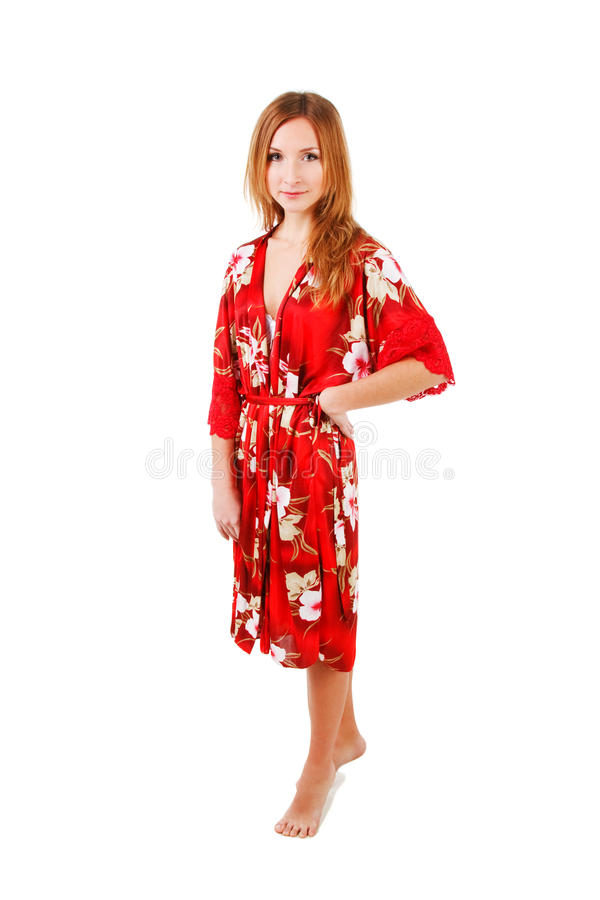 Download Attractive Adorable Girl In Red Morning Gown Stock Image - Image: 14542583