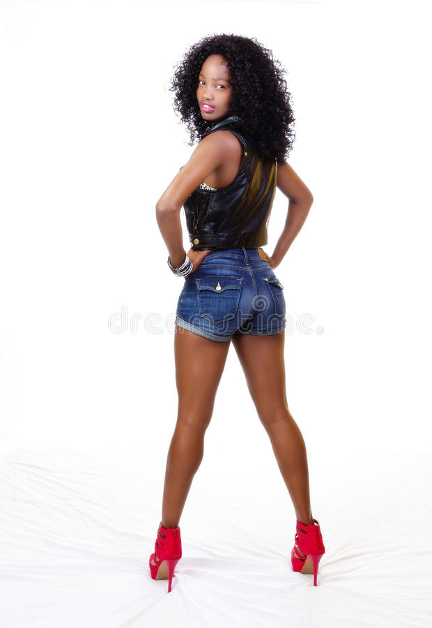 Attractive African American Teen Girl From Behind royalty free stock photos