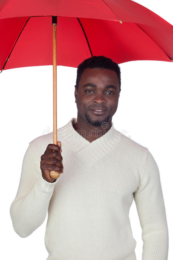 Download Attractive African Man With A Red Umbrella Stock Photo - Image: 22869838