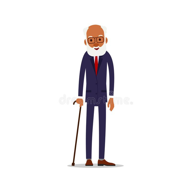 Attractive african old man. Older black senior retired. Cute grandfather standing and smiling. Traditional retirement lifestyle. Cartoon illustration isolated stock illustration