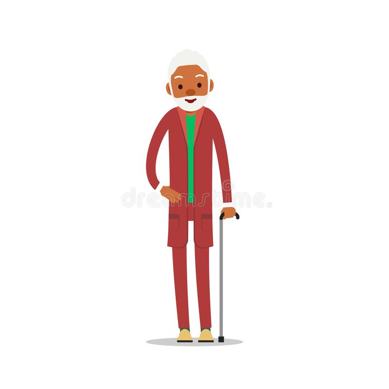 Attractive african old man. Older black senior retired. Cute grandfather standing and smiling. Traditional retirement lifestyle. Cartoon illustration isolated vector illustration
