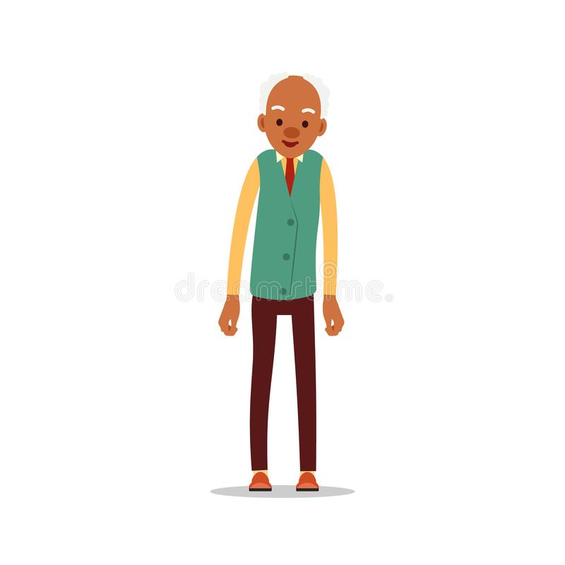 Attractive african old man. Older black senior retired. Cute grandfather standing and smiling. Traditional retirement lifestyle. Cartoon illustration isolated royalty free illustration