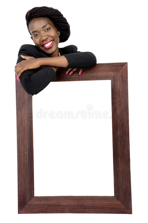 Attractive African Woman with an Advertising Board royalty free stock image