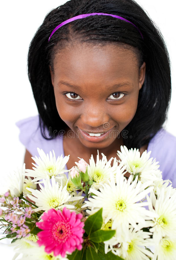 Download Attractive Afro-american Woman Holding Flowers Stock Photography - Image: 13766162