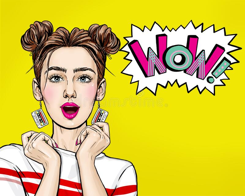 Attractive amazed young woman  with mobile phone in hand. Wow girl in comic style. Pop art woman holding smartphone. royalty free stock photography