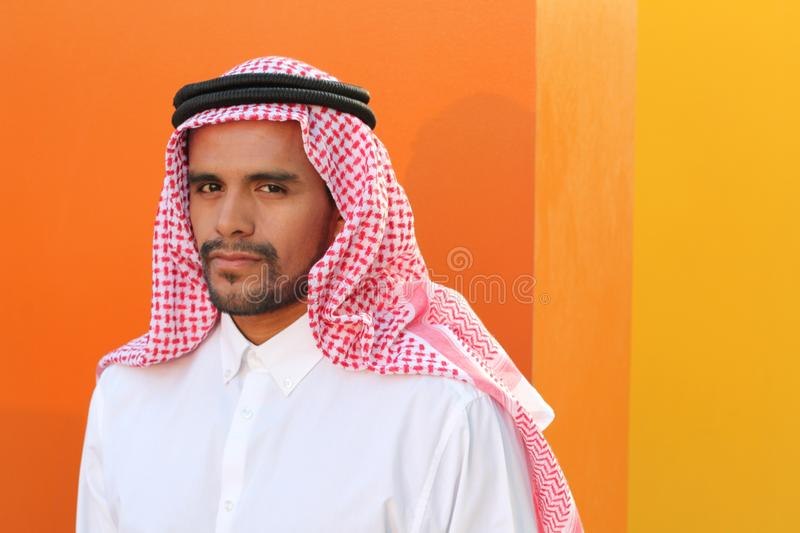 Attractive Arabic man with copy space royalty free stock photography