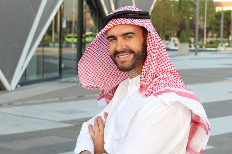 Attractive Arabic man with copy space royalty free stock image