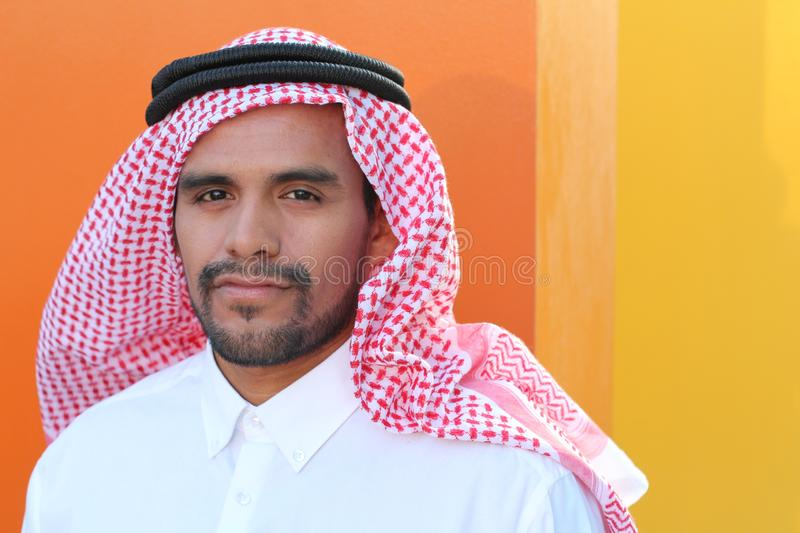 Attractive Arabic man with copy space stock photo