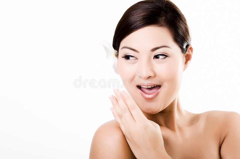 Attractive asian female showing surprised face stock photos