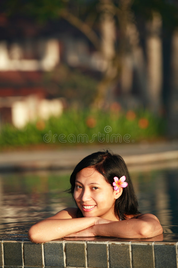 Download Attractive Asian Woman stock photo. Image of pool, relaxing - 428100