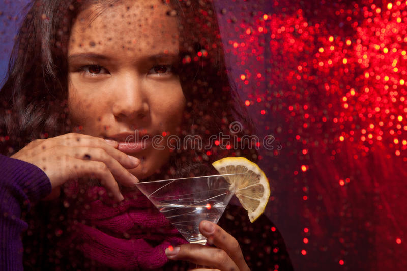 Attractive Asian woman with drink royalty free stock images