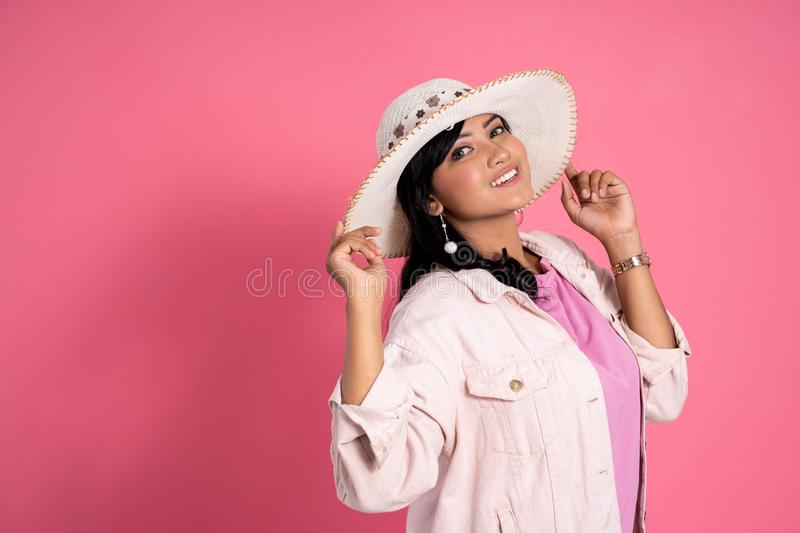 Attractive asian woman with summer hat stock image