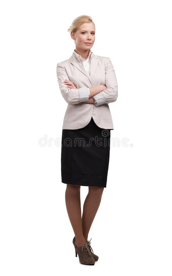 Attractive attractive business woman in a light beige suit. Isolated on white background stock images