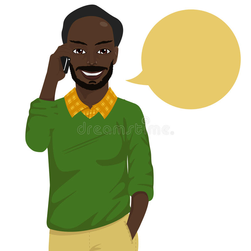 Attractive baldheaded african american hipster man talking on smartphone stock illustration