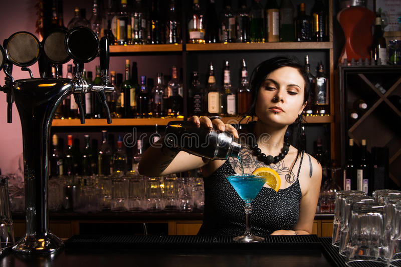 Attractive bartender royalty free stock photography