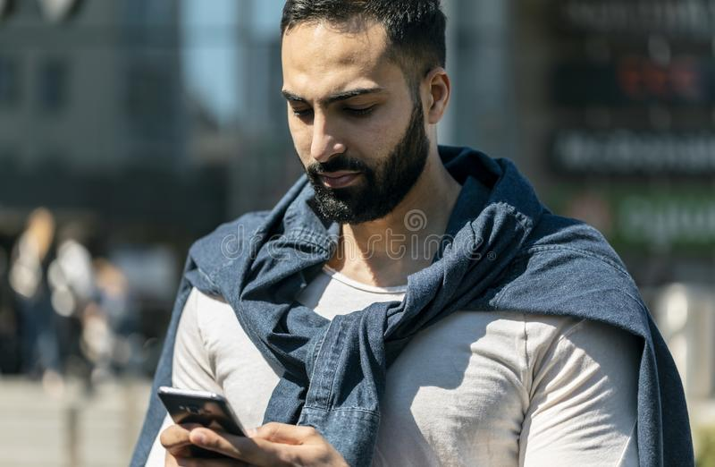 Man Sending Message royalty free stock photos