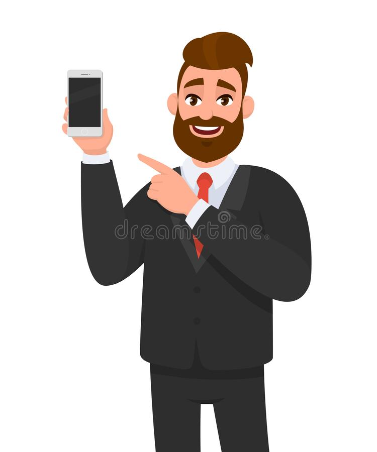 Attractive bearded businessman holding/showing brand new smartphone/mobile/cell phone in hand and pointing index finger towards. stock illustration