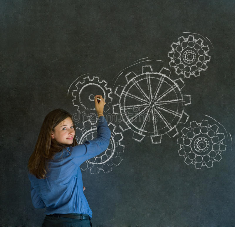 Woman thinking with turning gear cogs or gears. Attractive beautiful business woman, student or teacher thinking with turning gear cogs or gears stock photos
