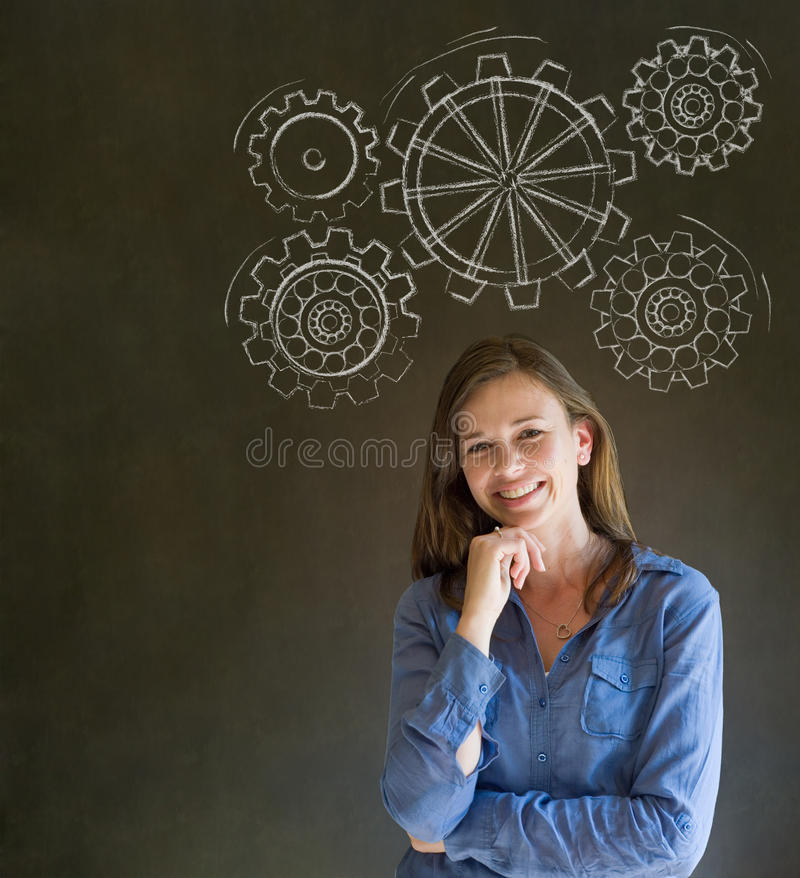 Woman thinking with turning gear cogs or gears. Attractive beautiful business woman, student or teacher thinking with turning gear cogs or gears stock images