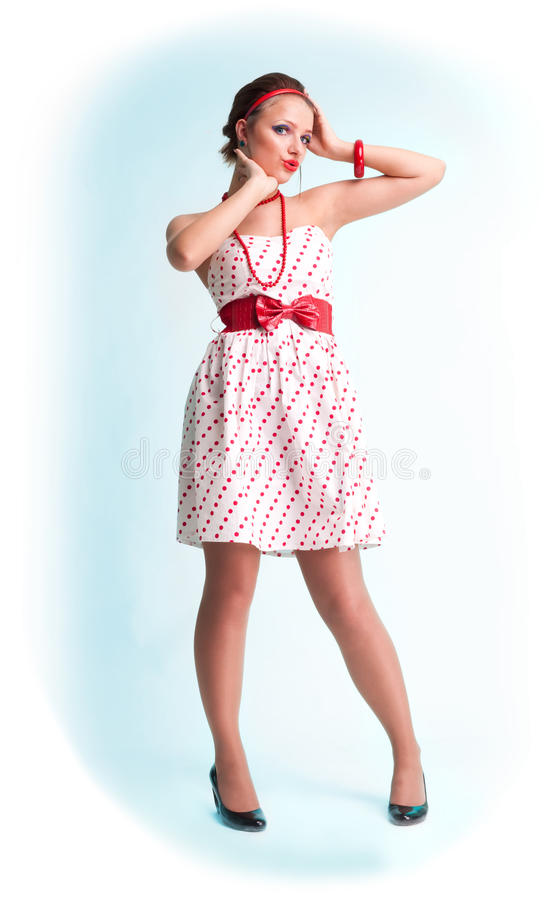 Attractive beautiful pin up style girl stock images