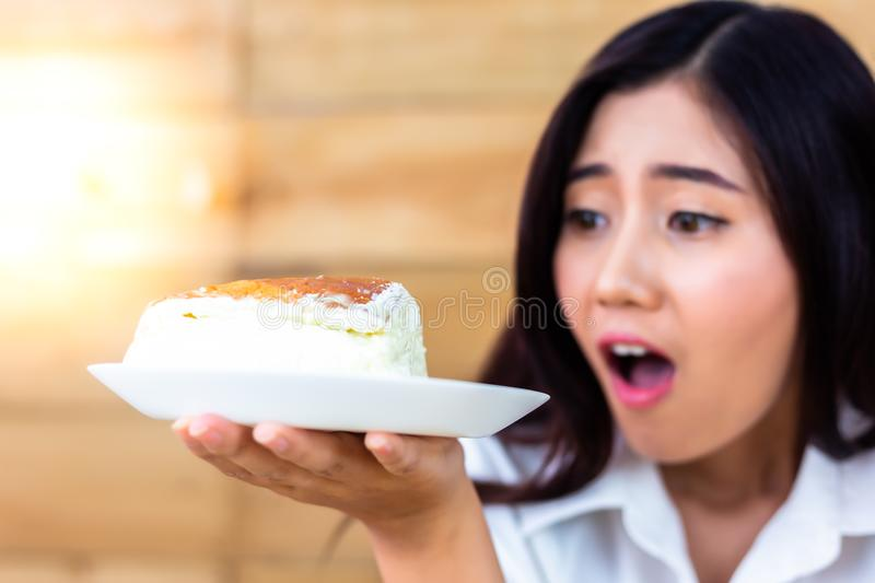 Attractive beautiful woman is saying wow when lovely woman looks royalty free stock image