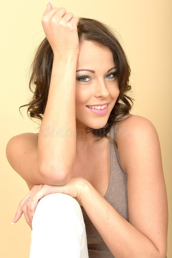 Attractive Beautiful Young Woman Portrait Looking at the Camera stock images