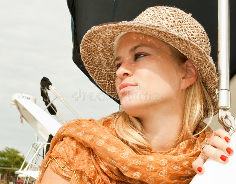Download Attractive Beauty Woman With Straw Hat Stock Image - Image of evening, scarf: 10577547