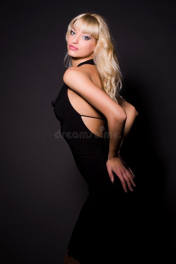 attractive black dress girl στοκ εικόνα με δικαίωμα ελεύθερης χρήσης