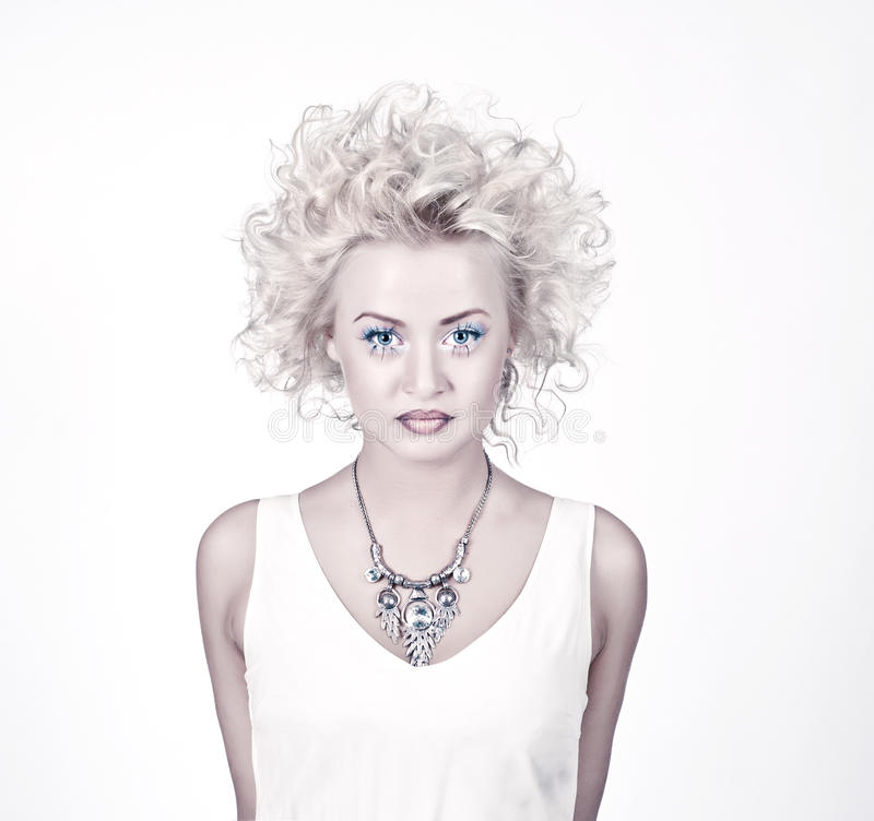 Download Attractive Blond Beauty With Original Make Up Stock Photo - Image of hairstyle, hair: 25836410