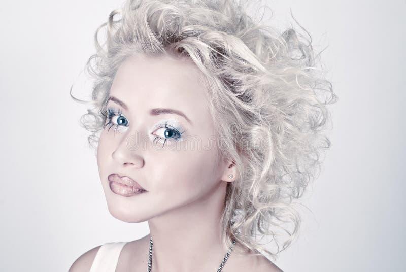 Attractive blond beauty portrait stock photos