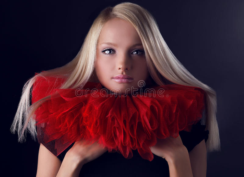 Download Attractive Blond Beauty In Red Theatrical Jabot Stock Photo - Image: 14987248
