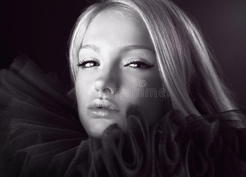 Download Attractive Blond Beauty In A Theatrical Jabot. Stock Image - Image: 14986929