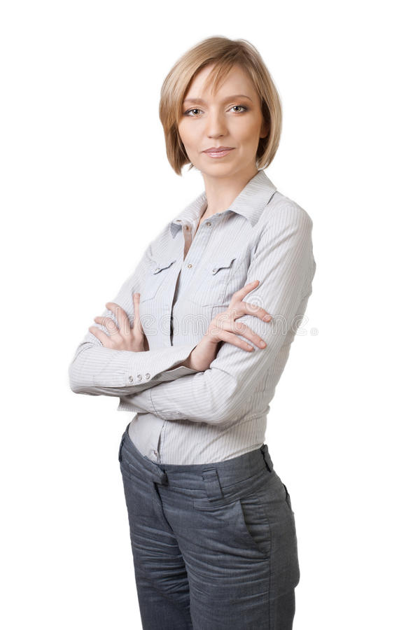 Attractive Blond Businesswoman With Crossed Arms Stock Image