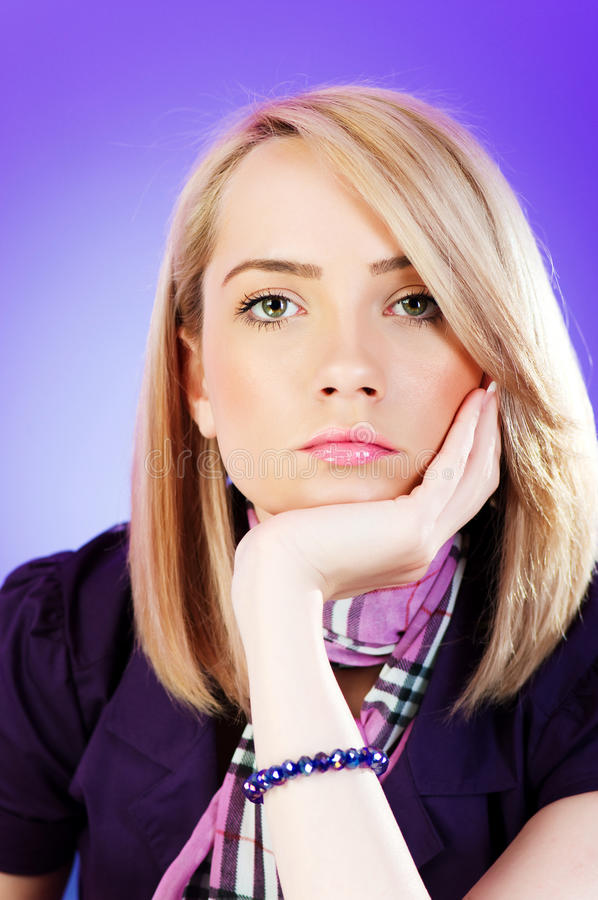 Attractive blond girl stock photo