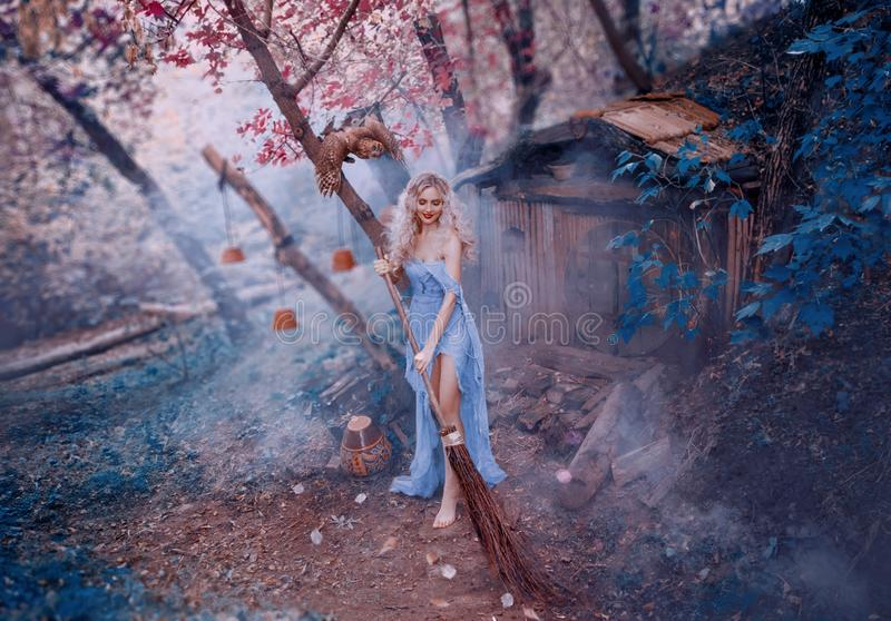 Attractive blond lady in long light dress of thin fabric with naked shoulder and open legs sweeps leaves with broom near. Her little forest wooden house stock photo