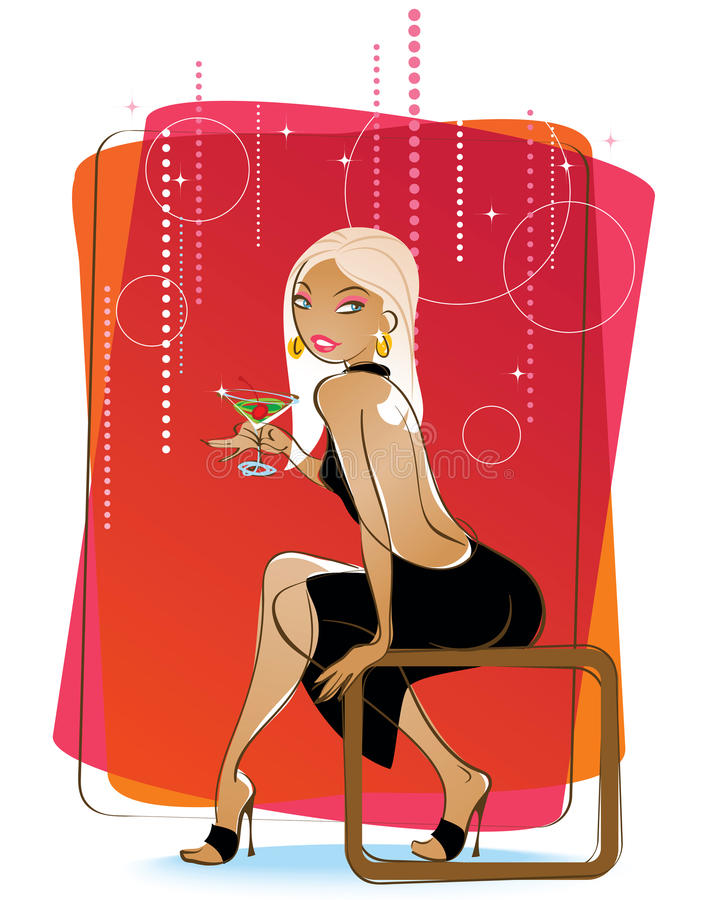 Download Attractive Blond With A Martini Stock Vector - Illustration of flirt, modern: 17975084