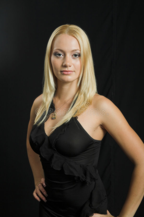 Download Attractive Blond Model On Black Background Stock Photography - Image: 997872