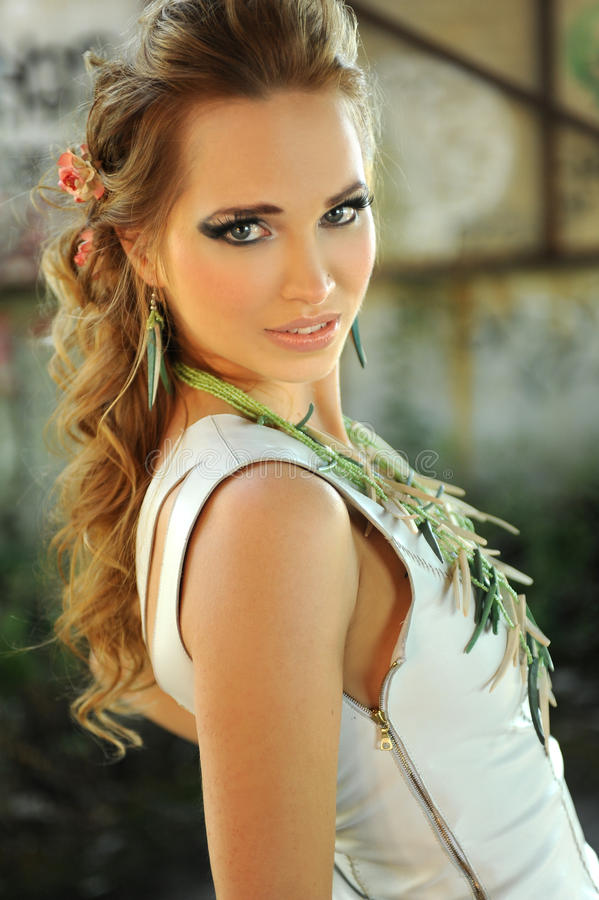 Attractive blond woman royalty free stock photo
