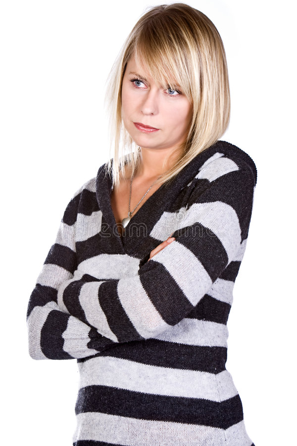 Attractive Blonde with Arms Crossed royalty free stock photography