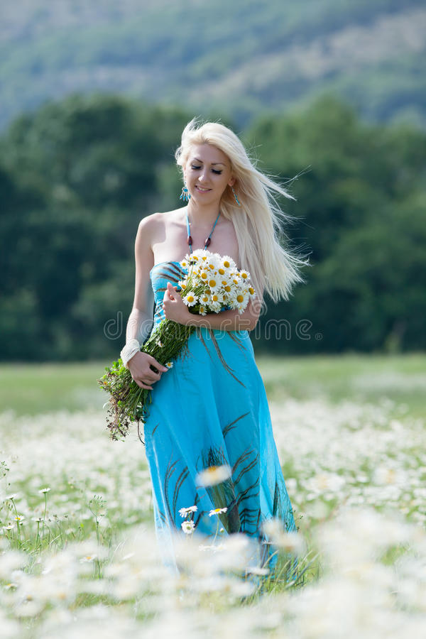 Attractive blonde in chamomile field. Young woman with bouquet of flowers walking through chamomile field royalty free stock images