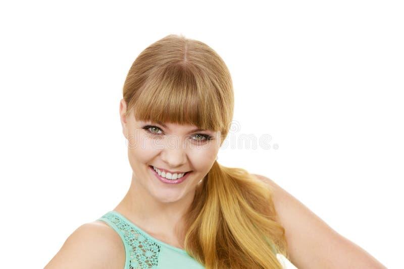 Attractive blonde girl smiling portrait stock image