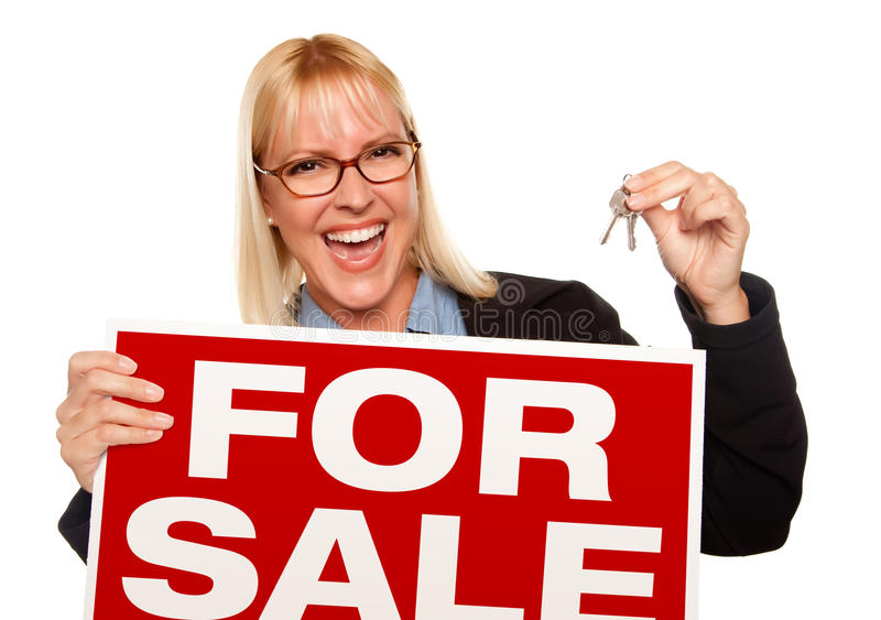 Download Attractive Blonde Holding Keys & For Sale Sign Stock Photo - Image: 11233258