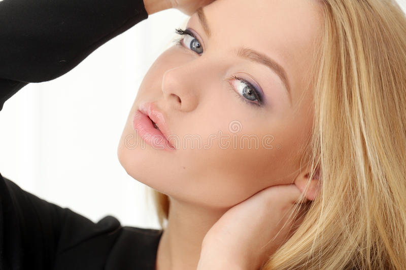 Attractive Blonde At Home Stock Photo