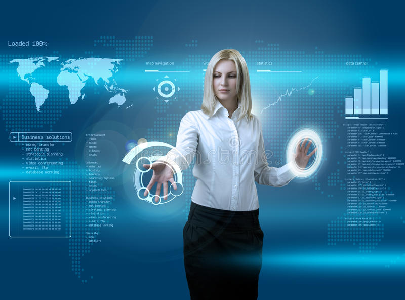 Attractive blonde navigating futuristic interface. Outstanding business people in interiors / interfaces series