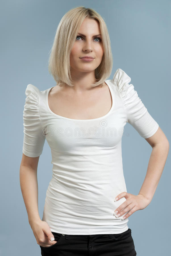 Attractive blonde in white shirt isolated royalty free stock photo