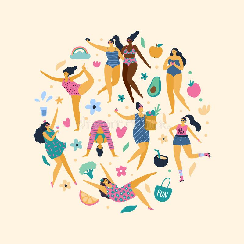 Happy plus size girls enjoy life. stock illustration