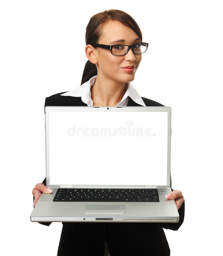 Attractive brunette business woman with copyspace. Young successful career woman holds her laptop open, copyspace provided on screen royalty free stock images