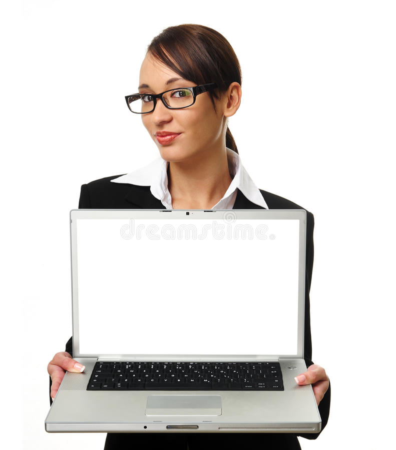 Attractive brunette business woman with copyspace. Young successful career woman holds her laptop open, copyspace provided on screen royalty free stock photo