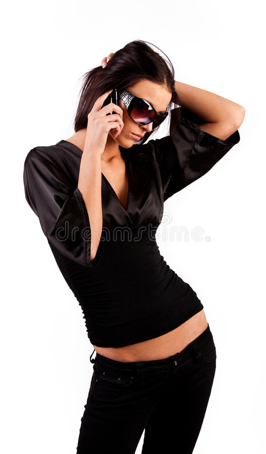 Attractive Brunette Calling By Phone Stock Photo